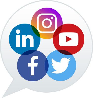 Social media: Facebook, Linkedin, Twitter, Instagram, YouTube